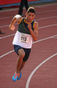 Wayde van Niekerk in action at the national championships earlier this year. Photo: Trev Palframan