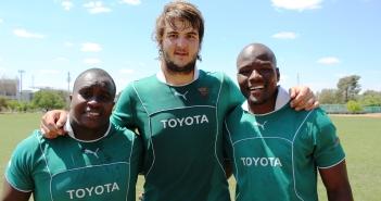 Trevor Nyakane (links), Lood de Jager (middel) en Oupa Mohoje (regs) is die Cheetahs se drie Springbokke wat terug is om die Goue Leeus Saterdag in Johannesburg te pak. Foto: Gerdie Karstens/DigiSport