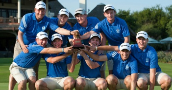 The victorious Scottish Golf Union team that claimed the sixth annual Leopard Trophy at Leopard Creek are from the back, left to right – coach David Orr, Scott Gibson, Jamie Savage and Ben Kinsley; front, left to right – Craig Ross, Ewen Ferguson, Connor Syme, Danny Young and Greig Marchbank. Photo: Roger Sedres / Image SA
